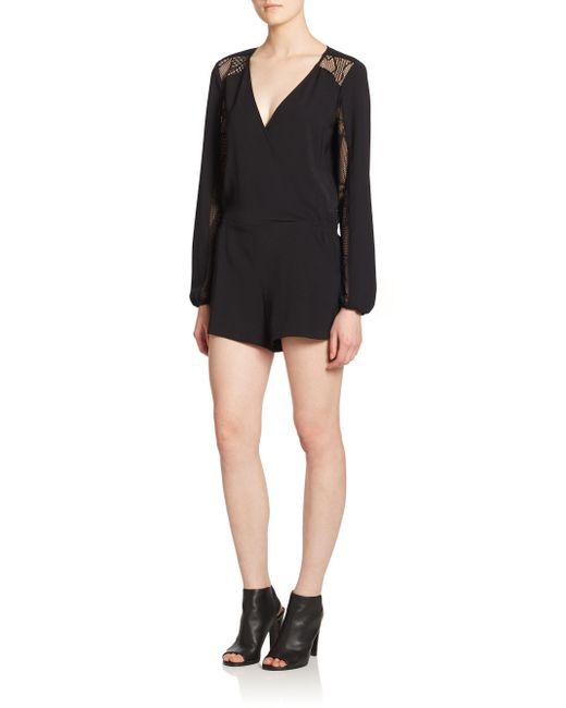 Parker - Black Ross Mesh-panel Short Jumpsuit - Lyst