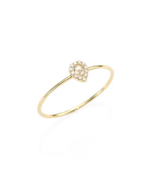 EF Collection - Metallic Mini Teardrop Diamond, White Topaz & 14k Yellow Gold Ring - Lyst