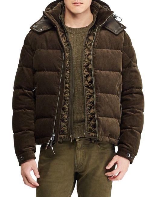 Ralph Lauren Purple Label - Green Rlx Skidmore Corduroy Puffer Jacket for Men - Lyst