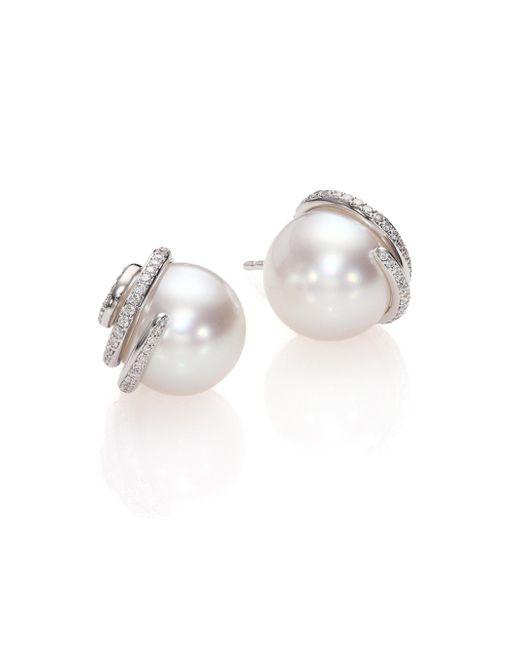 Mikimoto - Twist 11mm White Cultured South Sea Pearl, Diamond & 18k White Gold Stud Earrings - Lyst
