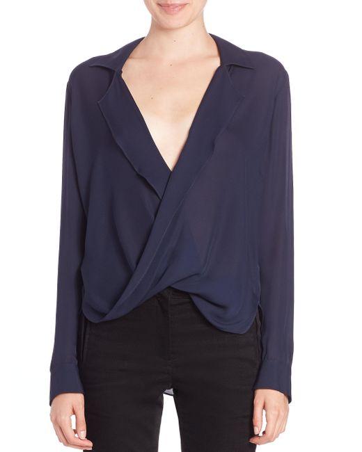 L'Agence | Blue Rita Drape-front Silk Blouse | Lyst