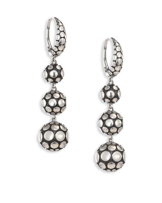John Hardy | Metallic Dot Sterling Silver Sphere Drop Earrings | Lyst