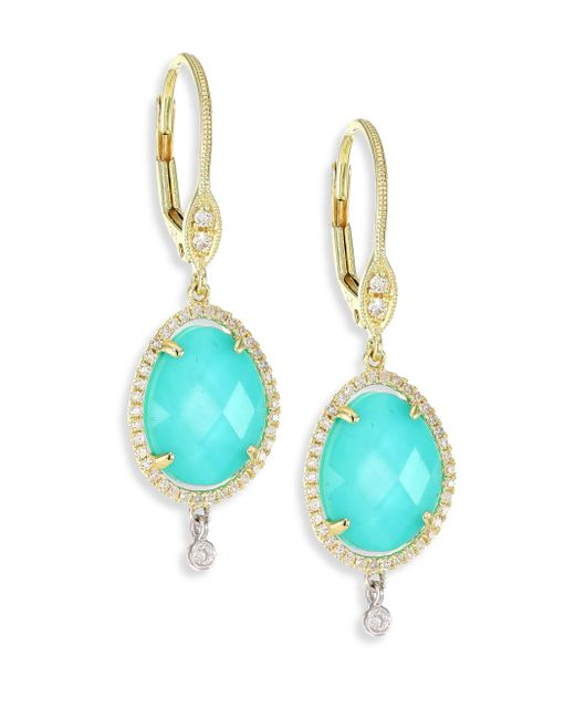 Meira T - Multicolor Diamond, Turquoise Doublet & 14k Yellow Gold Drop Earrings - Lyst
