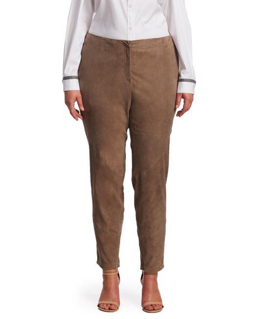Lafayette 148 New York | Brown Portobello Suede Slim Pants | Lyst
