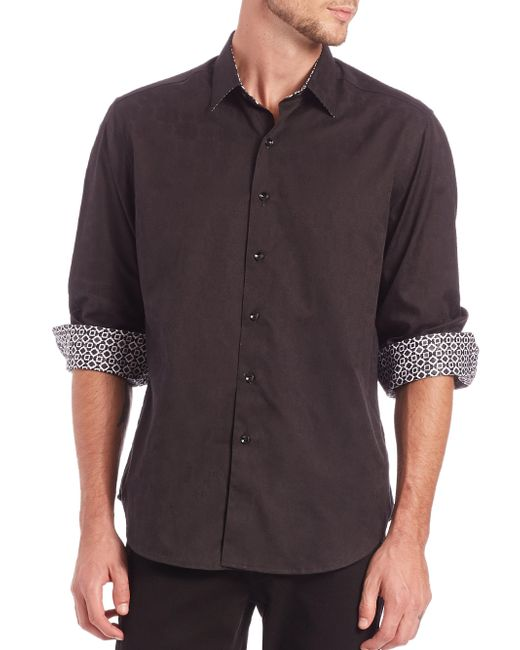 Robert Graham | Black Cullen Cotton Button-down Shirt for Men | Lyst