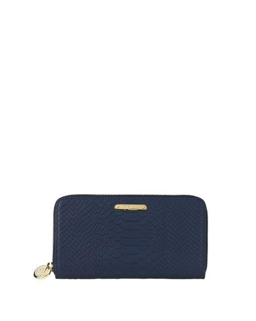 Gigi New York - Blue Full-grain Embossed Python Leather Wallet - Lyst