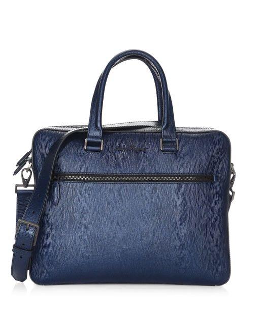 Ferragamo - Blue Revival Single Gusset Briefcase for Men - Lyst