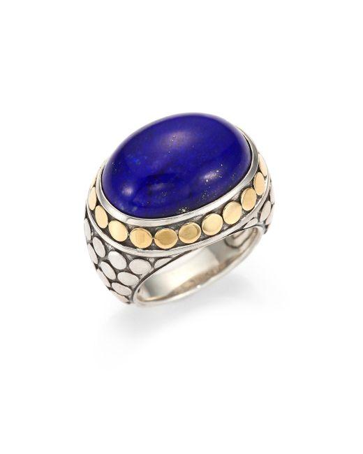 John Hardy | Blue Batu Dot Lapis Lazuli, 18k Yellow Gold & Sterling Silver Dome Ring | Lyst