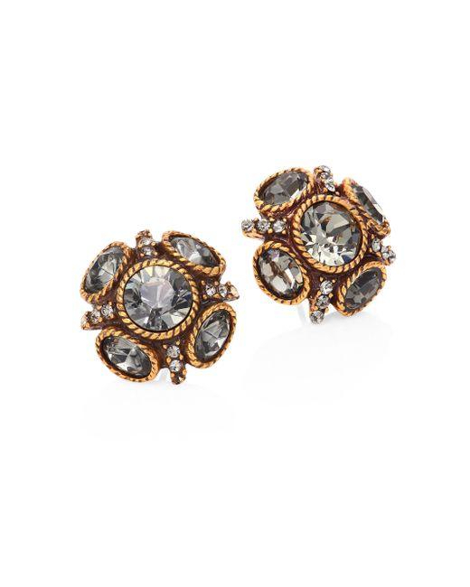 Oscar de la Renta - Metallic Classic Crystal Button Stud Earrings - Lyst