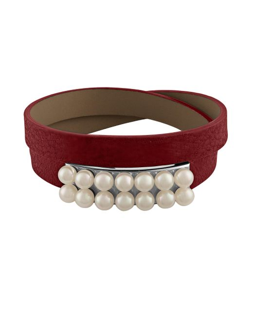 Majorica | Red New Isla 6mm White Pearl & Leather Bracelet | Lyst