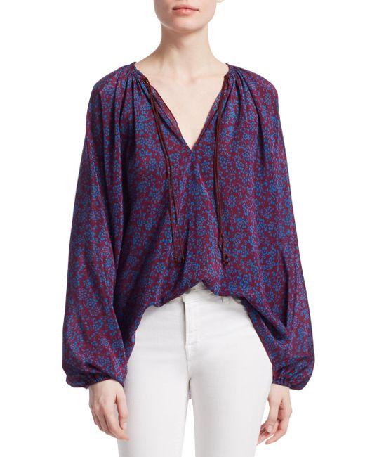 Elizabeth and James - Purple Chance Long Sleeve Silk Blouse - Lyst