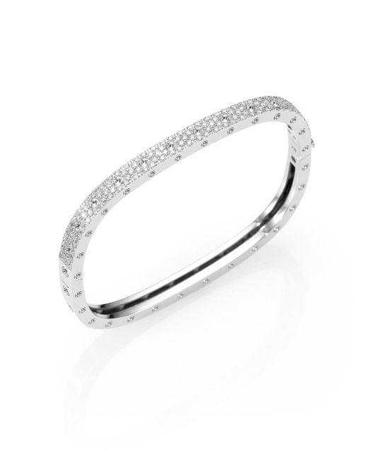 Roberto Coin - Pois Moi Pavé Diamond & 18k White Gold Single-row Bangle Bracelet - Lyst