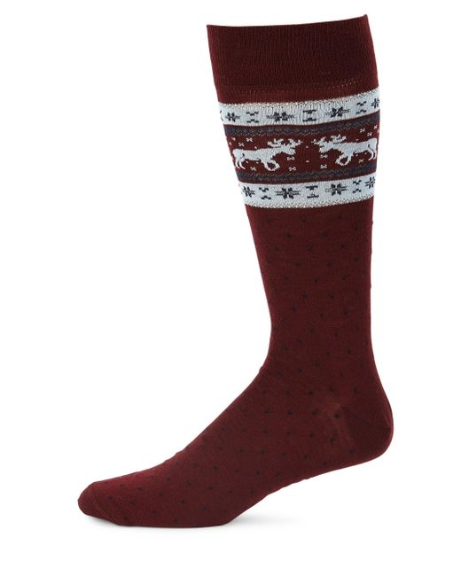Saks Fifth Avenue - Multicolor Collection Top Moose Fairisle Dress Socks for Men - Lyst