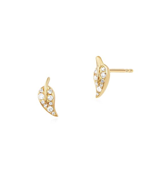 EF Collection - Metallic Mini Diamond Leaf Stud Earrings - Lyst