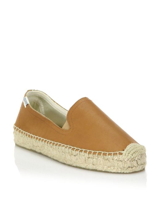 Soludos - Brown Leather Platform Espadrille Flats - Lyst