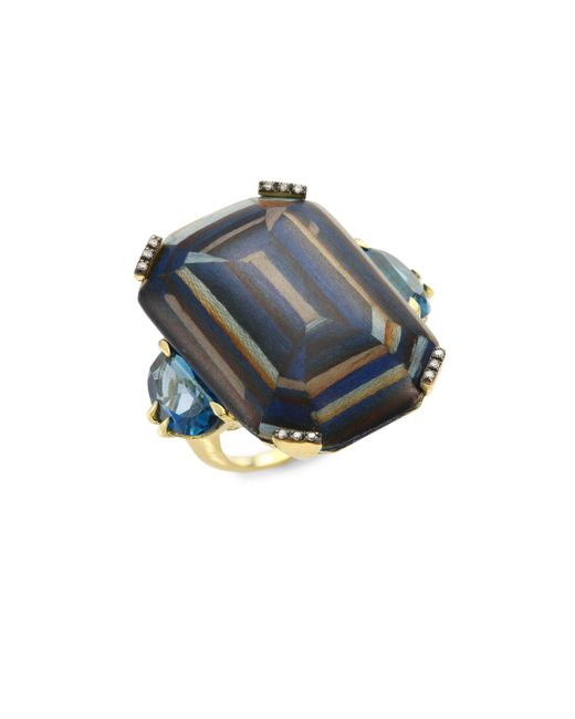 Silvia Furmanovich - Metallic Marquetry Light Brown Diamonds, Green Tourmaline & 18k Yellow Gold Ring - Lyst