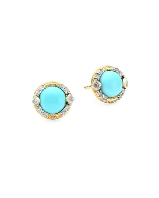 Jude Frances - Metallic Lisse Diamond Pave 18k Gold Turquoise Stud Earrings - Lyst