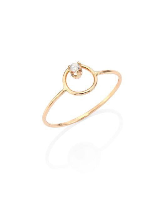 Zoe Chicco - Metallic Diamond & 14k Yellow Gold Circle Ring - Lyst