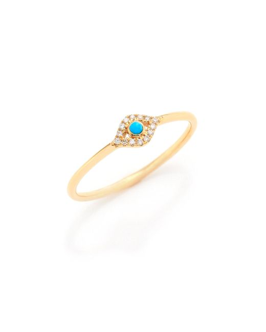 Sydney Evan - Metallic Small Infinity Diamond, Turquoise & 14k Yellow Gold Evil Eye Ring - Lyst