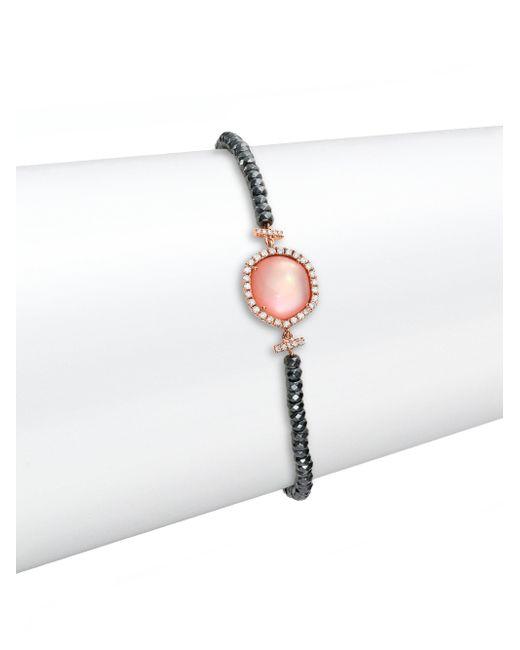 Meira T | Pink Rose Quartz, Mother-of-pearl, Silverite, Diamond & 14k Rose Gold Beaded Bracelet | Lyst
