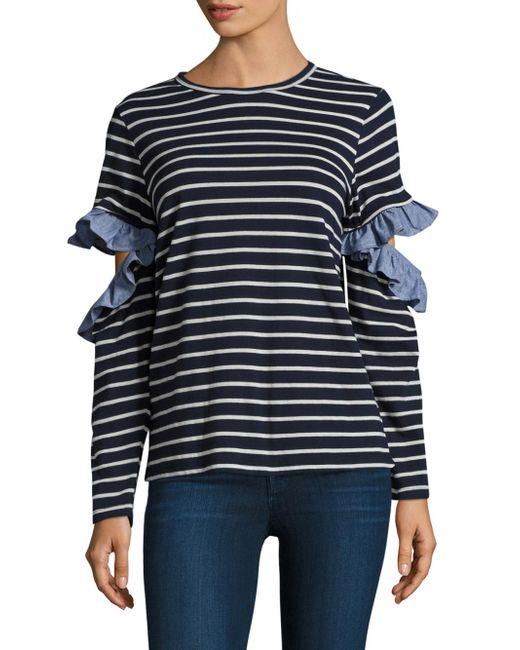 CLU | Blue Ruffled Open Sleeve Top | Lyst