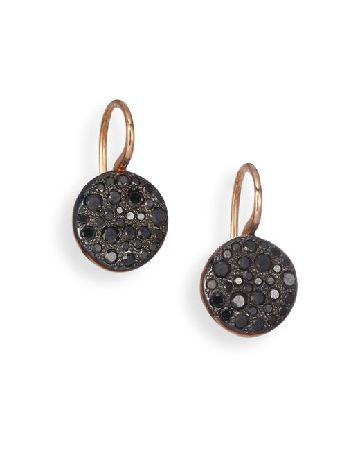 Pomellato | Sabbia Black Diamond & 18k Rose Gold Drop Earrings | Lyst