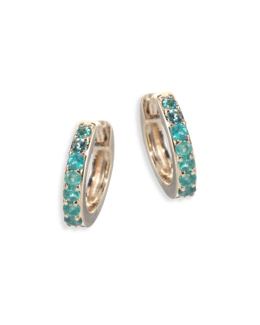 Astley Clarke - Green Mini Halo Emerald & 14k Yellow Gold Hoop Earrings - Lyst