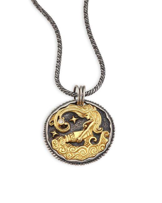 Konstantino | Metallic Zodiac 18k Gold, Sterling Silver & Diamond Aquarius Pendant | Lyst