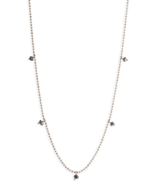 Kismet by Milka - Metallic Black Diamond Ball Chain Necklace - Lyst