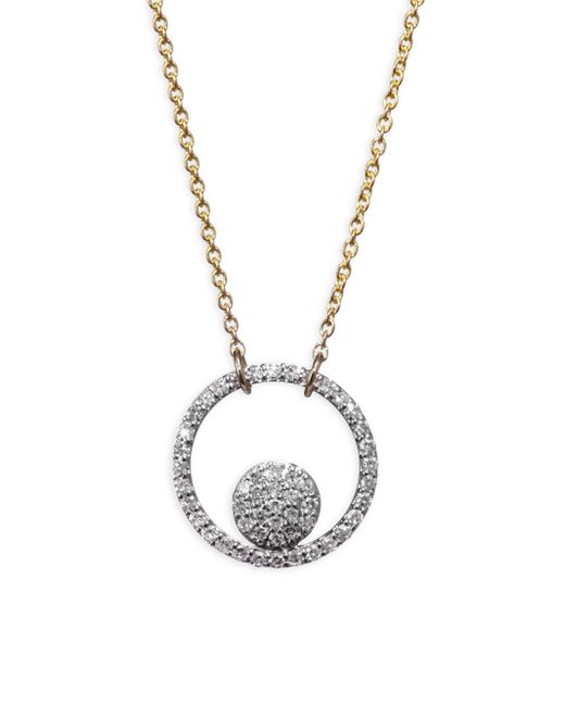 Phillips House - Metallic 14k Two Tone Diamond Ring Pendant Necklace - Lyst