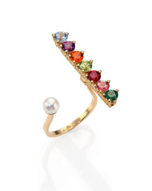 Delfina Delettrez - Gold Vein Multicolor Topaz, Peridot & 4mm White Freshwater Pearl Ring - Lyst