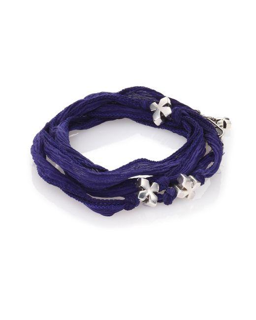 King Baby Studio - Blue Sterling Silver & Silk X Wrap Bracelet for Men - Lyst