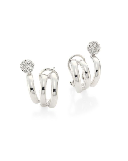 Hueb - Multicolor Diamond Flower & 18k White Gold Earrings - Lyst