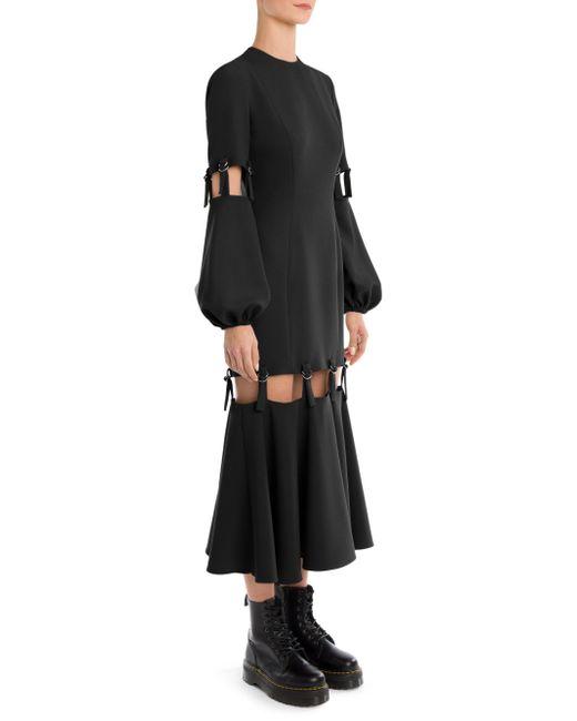 Sara Battaglia - Black Full-sleeve Adjustable Midi Dress - Lyst