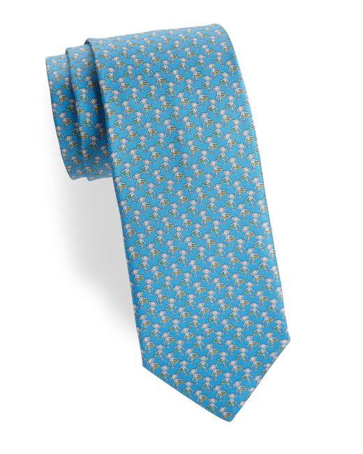 Ferragamo - Blue Monkey Hula Hoop Silk Tie for Men - Lyst