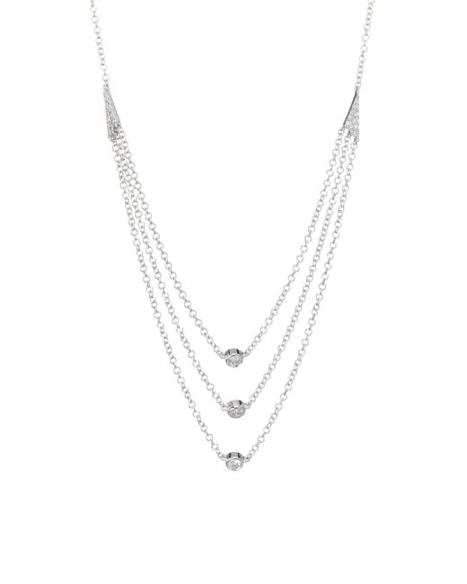 EF Collection - Metallic Triple Layer 14k White Gold 0.14 Tcw Diamond Bezel Necklace - Lyst