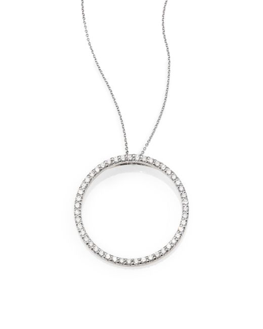 Roberto Coin - Metallic Tiny Treasures Diamond & 18k White Gold Large Circle Pendant Necklace - Lyst