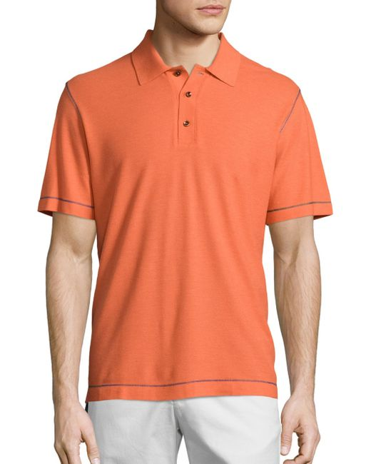 Robert Graham - Orange Messenger Heather Polo for Men - Lyst