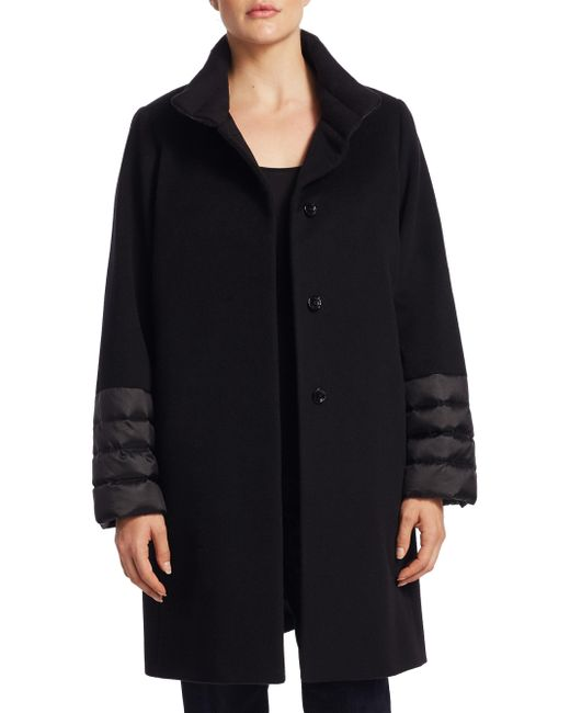 Cinzia Rocca | Black Quilted Stand Collar Wool Coat | Lyst