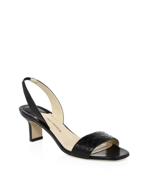 Paul Andrew - Black Python Leather Slingback Sandals - Lyst
