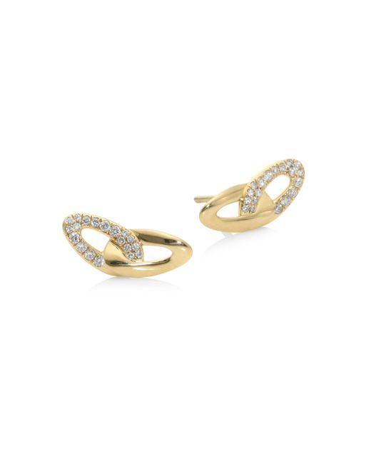 Ippolita   Metallic Cherish Diamond & 18k Yellow Gold Stud Earrings   Lyst