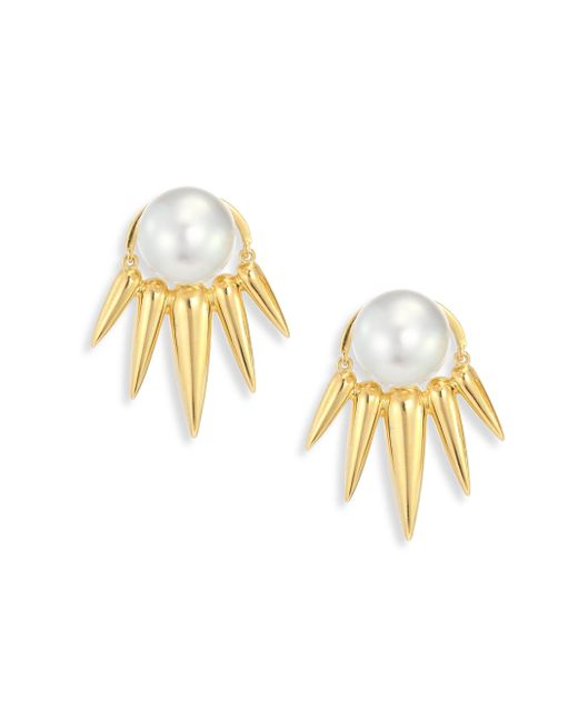 Nikos Koulis - Metallic Spectrum 16mm White Tahitian Pearl & 18k Yellow Gold Ear Jacket & Stud Earrings Set - Lyst