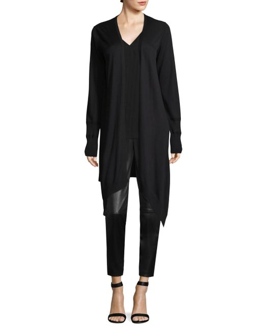 St. John - Black Plaited Waterfall Cardigan - Lyst