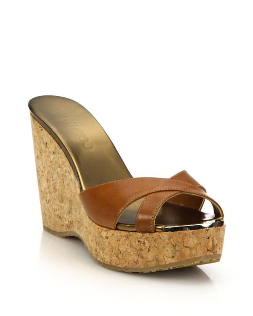 Jimmy Choo   Brown Perfume 100 Leather & Cork Platform Wedge Sandals   Lyst