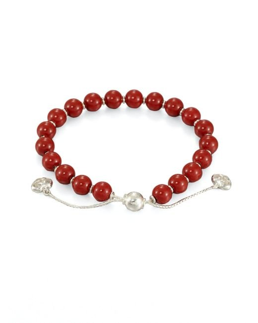 Gucci - Red San Valentino Wood & Sterling Silver Beaded Bracelet - Lyst