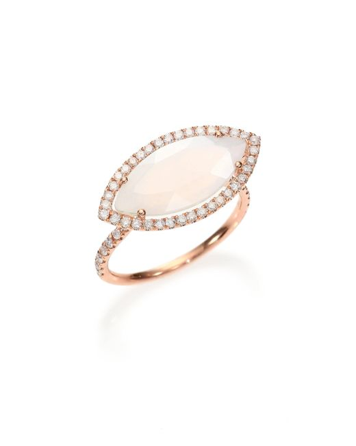Meira T - Pink Chalcedony, Mother-of-pearl Diamond & 14k Rose Gold Doublet Marquis Ring - Lyst
