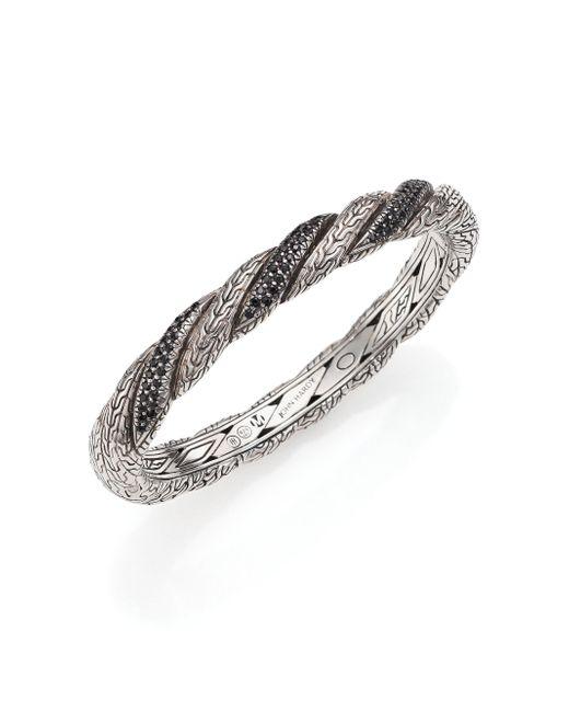 John Hardy | Classic Chain Black Sapphire & Sterling Silver Twisted Bangle Bracelet | Lyst