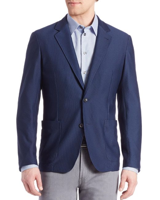 Armani | Blue Mesh Jacket for Men | Lyst