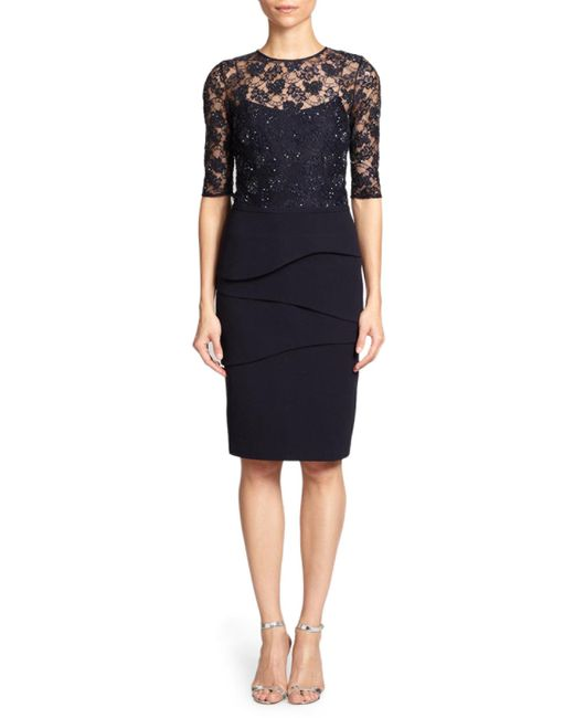 Teri Jon - Blue Lace Bodicethree Quarter Sleeve Sheath Dress - Lyst