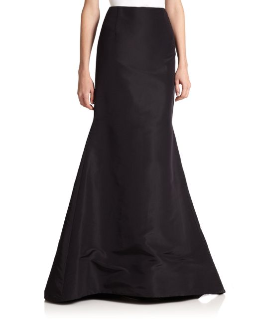 Carolina Herrera - Black Icon Collection Silk Faille Long Trumpet Skirt - Lyst